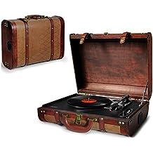 Plattenspieler | Schallplattenspieler | Turntable | PLL Radio Retro Holz Nostalgie AUX IN | Plattenspieler mit Koffer | Vinyl Player