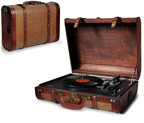 Plattenspieler | Schallplattenspieler | Retro Holz Nostalgie Kofferplattenspieler | Turntable | PLL Radio| AUX IN | Plattenspieler im Koffer | Vinyl - Plattenspieler Holz Vinyl