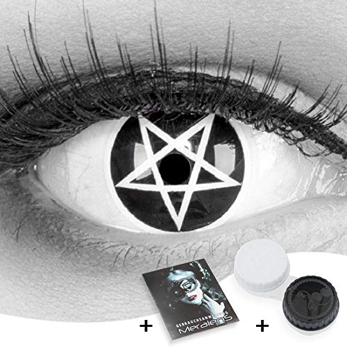 Farbige Kontaktlinsen 1 Paar Funnylens schwarze Crazy Fun pentagram Jahres Kontaktlinsen. Topqualität zu Halloween und Karneval mit gratis Kontaktlinsenbehälter.