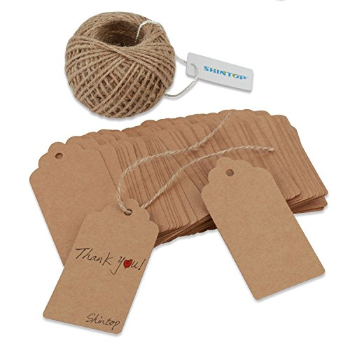 Shintop 100 Stück Geschenkanhänger aus Kraftpapier, Konfekt-Geschenke, Hochzeitsanhänger, rechteckige Geschenkanhänger mit 30,5m natürlichem Jute-Garn (Braun)