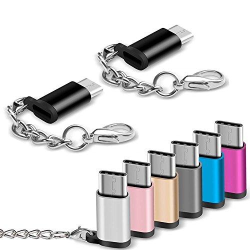 PerGrate Adattatore da micro-USB femmina a USB-C maschio, con anello portachiavi, adatto per Samsung Galaxy S9 e Google Pixel, confezione da 1, 3 o 8 pezzi 8pcs