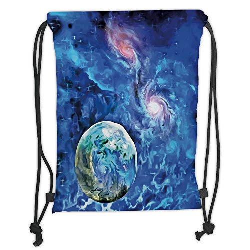 Drawstring Backpacks Bags,Constellation,Exo Solar Planet Painting Style Vibrant Universe Awesome Space,Turquoise Blue Light Pink Soft Satin,5 Liter Capacity,Adjustable String Closu