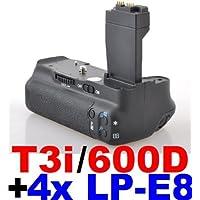 Neewer® Impugnatura Portabatteria per Fotocamere Canon EOS 550D 600D/Rebel T2i T3i + 4 Batterie LP-E8