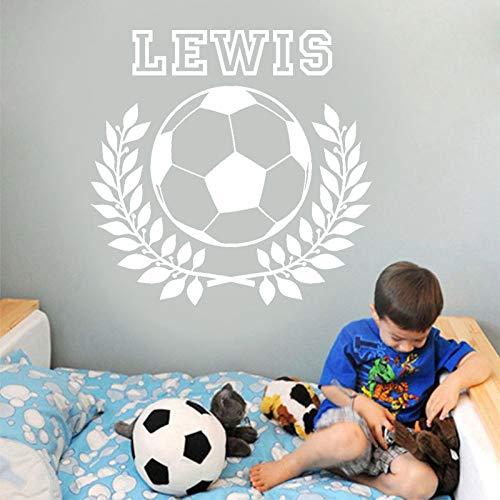 Geiqianjiumai Personalisierte Boy Wreath Leaf Fußball Wandaufkleber Sport Art Applique Weiß L 57x56cm
