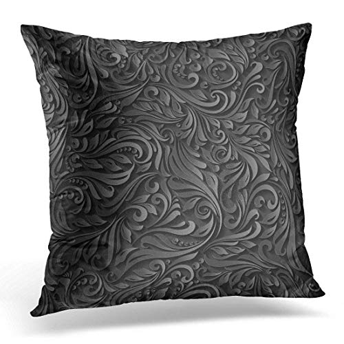 rongxincailiaoke kissenbezüge Gray Dark of Abstract Black Floral Vine Pattern Victorian Decorative Pillow Case Home Decor Square 18x18 inches Pillowcase -