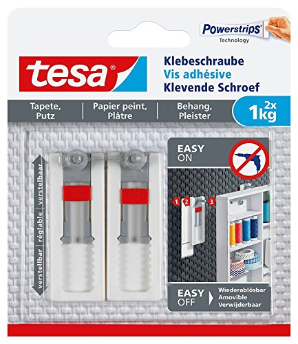 Tesa® Vis pour papier peint et plâtre, adhérence adhésives ajustable jusqu'à 1kg