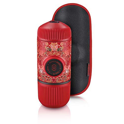 wacaco Nanopresso Cafetera Espresso portátil, versión de actualización de Minipresso, Edición roja de Tattoo Pixie, Cafetera portátil para Viajes, operado manualmente, Acampar
