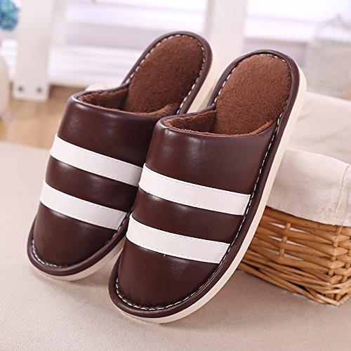 Aemember inverno pantofole di cotone con cotone pantofole per Donna Home, interni di spessore di fondo anti slittamento pantofole in pelle Coffee 1