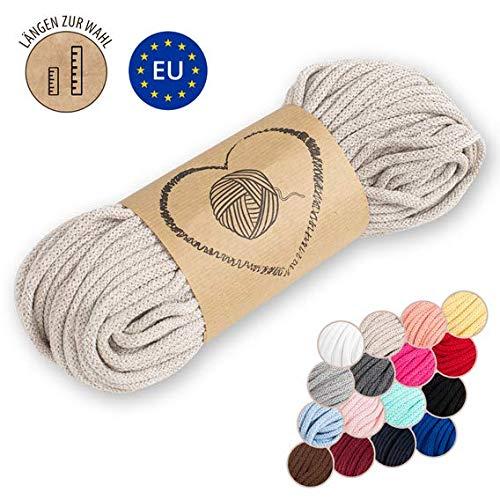 Amazinggirl corda intrecciata - spago per decorazioni filo per braccialetti macrame corde 5 mm lavorare all'uncinetto beige 50 metri