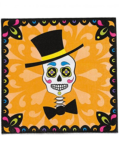 Horror-Shop 16 Stück Sugar Skull Papier-Servietten für den Day of The Dead & Halloween
