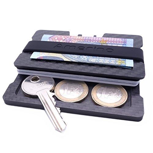 NEU: Carbon Kreditkartenetui mit Geldklammer und integriertem Münzfach - slim wallet mit RFID Schutz – Extra kleines Kartenetui