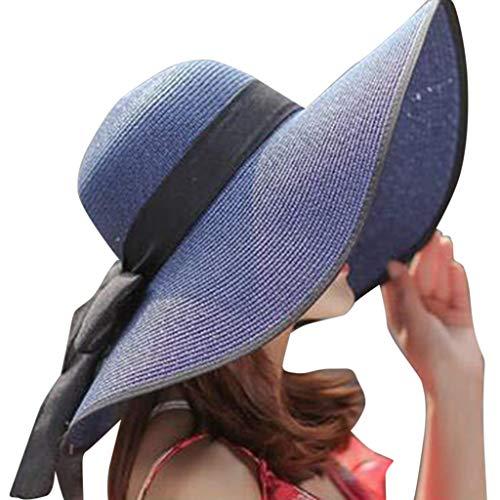 Produp Women Big Brim Straw Hut Sun Floppy breit Brim Hüte New Bowknot Falten Beach Cap würdevoll und großzügig Nizza und komfortable Hut