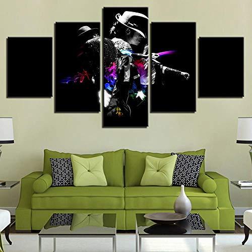 JGWLH Leinwand Malerei 5 Stücke Modulare Leinwand Druck Sternenhimmel Bild Wandkunst 5 Stücke Michael Jackson Malerei Wohnzimmer Kunst Poster Dekoration 200X100 cm -