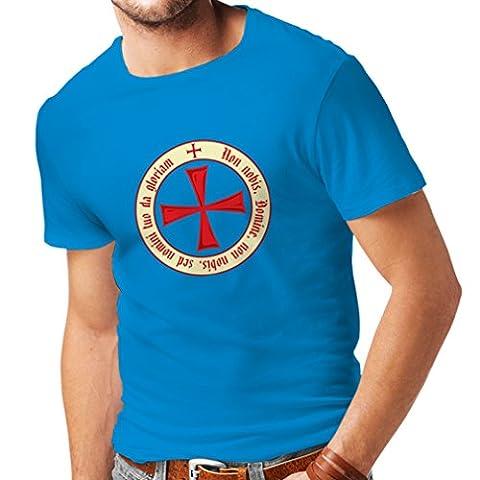 T-shirt pour hommes Chevalière Croix Rouge les templiers (Small Bleu Multicolore)