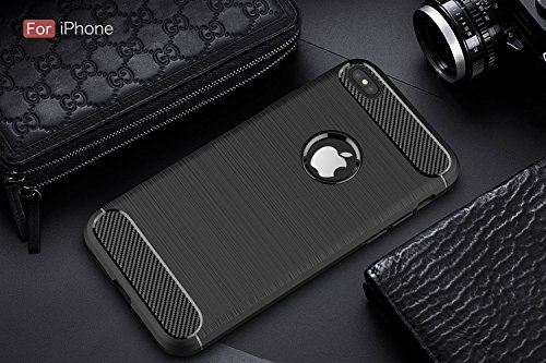 "Shockproof Silicone Light Brushed Grip Case Housse de protection pour Apple iPhone 6/6s (4.7"") Noir (Black) + Protecteur d'écran gratuit Noir"