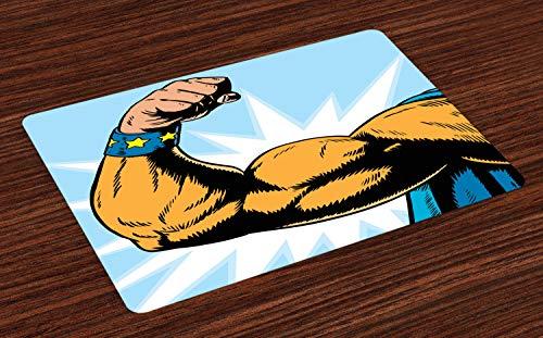 ABAKUHAUS Comics Platzmatten, Superheld-Arm, der Muskeln Starke Fiktions-Charakter-Karikatur-Grafik-Art biegt, Tiscjdeco aus Farbfesten Stoff für das Esszimmer und Küch, Ringelblume Blau