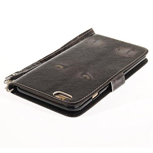 EUWLY Fashion Colorato Dipinto Protettiva Portafoglio Custodia in PU Pelle per iPhone 6 Plus/iPhone 6s Plus (5.5),Bello Animale Lanyard Wallet Case con Magnetica Chiusura Flip Funzione in PU Leather  Gatto Nero