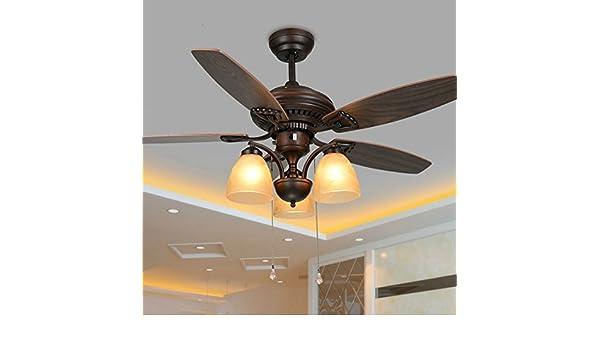 Ledmlsh 3 luci mute il ventilatore a soffitto ferro e legno 3 file