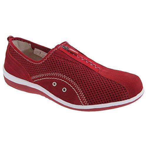 Boulevard - Chaussures à fermeture zippée et goussets - Femme Rouge