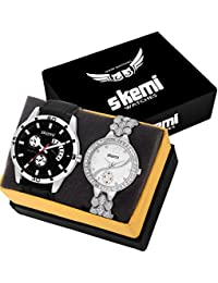 Skemi Analog Round Dial Men-Woman Watch/Fashionable Couple Watch/Watches For Couple Combo-059