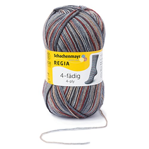 REGIA 4-fädig Color 9801269-06029 vermontgranit Handstrickgarn, Sockengarn, 100g Knäuel