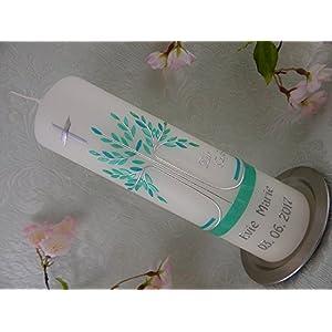 Taufkerze Lebensbaum türkis silber schlicht Taufkerzen Junge Mädchen 250/70 mm inklusive Name und Datum
