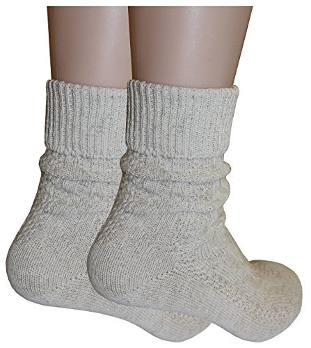 Tobeni 1 Paar Trachtensocken Socken kurz mit Umschlag und Zopfmuster Baumwolle-Leinen meliert für Damen und Herren Farbe Natur Meliert Grösse 39-42 - 4