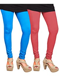 CAY 100% Cotton Combo of SkyBlue and Baby Pink Color Plain, Stylish & Most Comfortable Leggings For Girls & Women with Full Length (SIZE : Free Size)