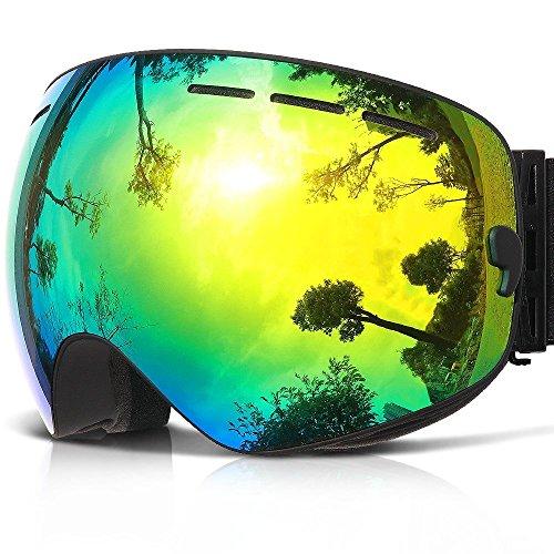 Skibrille ,COPOZZ G1 Ski Snowboard Brille Brillenträger Schneebrille Snowboardbrille Verspiegelt - Für Damen Herren Frauen Jungen - Mit Sehstärke OTG UV-Schutz Anti-Fog Black Schwarz Gold