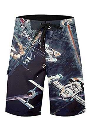 Musterbrand Star Wars Shorts de planche Homme Space Fight Death Star Space-Fight Artwork Multicolore S