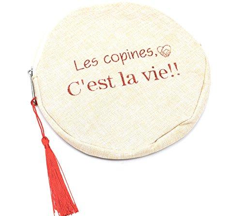 Oh My Shop ATM68 - Trousse Pochette Ronde Toile Message Les Copines C'est La Vie et Pompon Rouge
