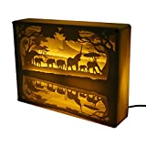 Paper Carving Lights Light Three Dimensional Silhouette Carved Table Lamp Night Decoration Valentine's Gift (Elephant)