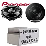 Opel Corsa C + D Tür Hinten - Lautsprecher Boxen Pioneer TS-G1330F - 13cm 3-Wege 130mm Triaxe 250W Auto Einbausatz - Einbauset