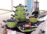 Koch-Topf-Set 17-teilig aus Aluguss mit Antihaftbeschichtung Sets Kochgeschirrset mit Deckel, Kunststoff-Griffe (Farbe: grün)