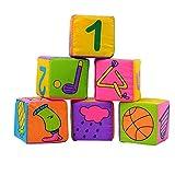 #5: NUOLUX Baby Cloth Soft Rattle Building Blocks Educational Cube Cloth Toys Set - 6pcs