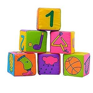 NUOLUX Baby Cloth Soft Rattle Building Blocks Educational Cube Cloth Toys Set - 6pcs