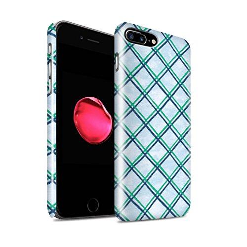STUFF4 Glanz Snap-On Hülle / Case für Apple iPhone 8 Plus / Pack (15 pcs) / Kreuz Muster Kollektion Grün/Blau