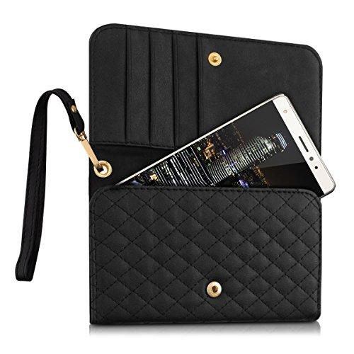 kwmobile-Kunstlederhlle-fr-Smartphones-Handtasche-Clutch-mit-Steppmuster-und-Kartenfach-Handy-Case-in-Schwarz-zB-geeignet-fr-Samsung-Apple