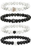 sailimue 4 Pcs perlé bracelet pour hommes femmes couronne bracelets pierre naturelle...