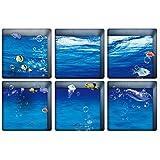 Ularma 6pcs 13x13cm guijarro patrón 3D antideslizante bañera impermeable etiqueta engomada Anti (3)