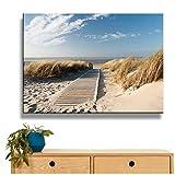 SMENGJIA Leinwandbild, HD Drucke, Rahmen, 1 Stück, Strandblick, Bilder Sanddünen in Nordsee, Poster, Wohnzimmer-Dekoration, 60 x 90 cm, ohne Rahmen