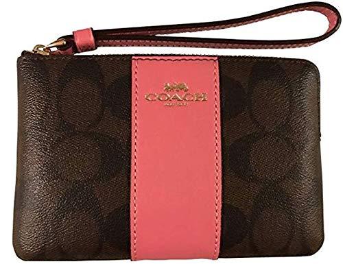Geldbörsen Coach Handtasche (Coach Geldbörse Leder mit Reißverschluss, Braun (Brown/Strawberry), Medium)