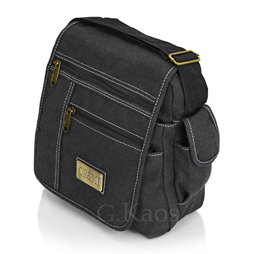 Ormi by G. Kaos – Tasche Herrentasche Schulterriemen verstellbar Stoff Canvas mit Handyfach – Multipocket 3348 Piccolo - Medio 3348-Mil.Green 3348-Black