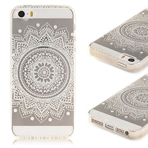Coque iPhone 5S ,iPhone SE Etui TPU , CaseLover Mandala Blanc Motif Mode Etui Coque TPU Slim pour Apple iPhone 5 / 5S / SE Mode Flexible Souple Soft Case Couverture Housse Protection Anti rayures Mince Transparent Silicone Cover - Fleur White