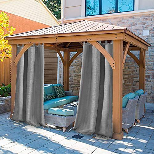 UniEco Outdoor Vorhang mit Schlaufen Gartenlauben Balkon-Vorhänge Verdunkelungsvorhänge Wasserdicht Mehltau beständig für Pavillon Strandhaus, 1 Stück,132x235cm,Grau