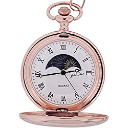 Jakob Strauss Rose Gold Tone Sun & Moon Gents Pocket Watch + 12 Chain JAST10