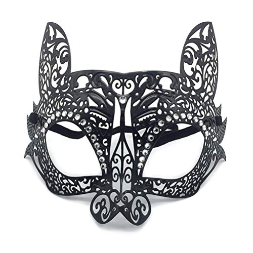 Jiahe Kaninchenmaske Venedig-Maskerade-Eisenmaske-Diamant-Gesichtsmaske,B