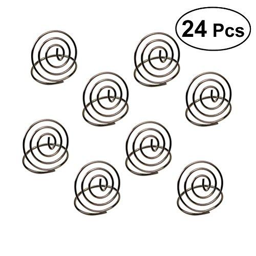 (bestonzon 24PCS Edelstahl Creative Runde Form Tischnummernhalter Karte Halter Circle Stereo Note Pad Menu Clips (Silber))