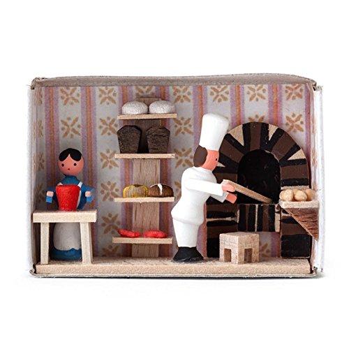 Miniatur-Zündholzschachtel Bäckerei - Dregeno Erzgebirgische Holzkunst - Artikel 028/042