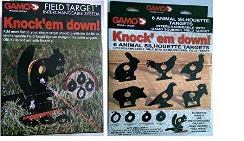 Farm Cottage Gamo Marken-Set, Feld-Eichhörnchen Zielscheibe mit Lasche zum Herausziehen, & 4 bullseye Verkleinerungsapparate & eine Packung mit 6 Tier Silhouette Ziele für air-Pistolen